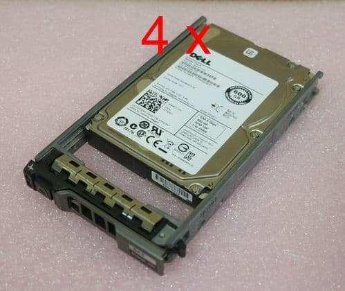 """4 x Dell 7T0DW 600GB 2.5"""" SAS 6GB/s 10K SFF Hot Plug Server Hard Drive in Caddy"""